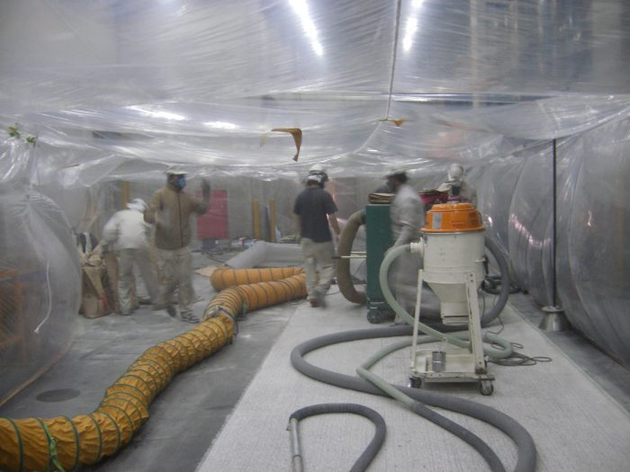 環境粉塵対策下地処理工法(負圧集塵機を利用)(壁面・床面)