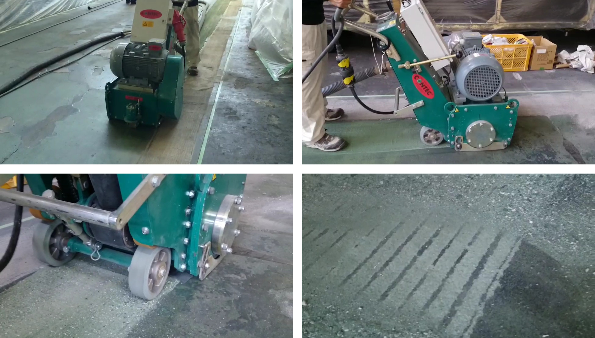 床面切削機『CT320』で、工場の床のフェロコンを切削除去しました。