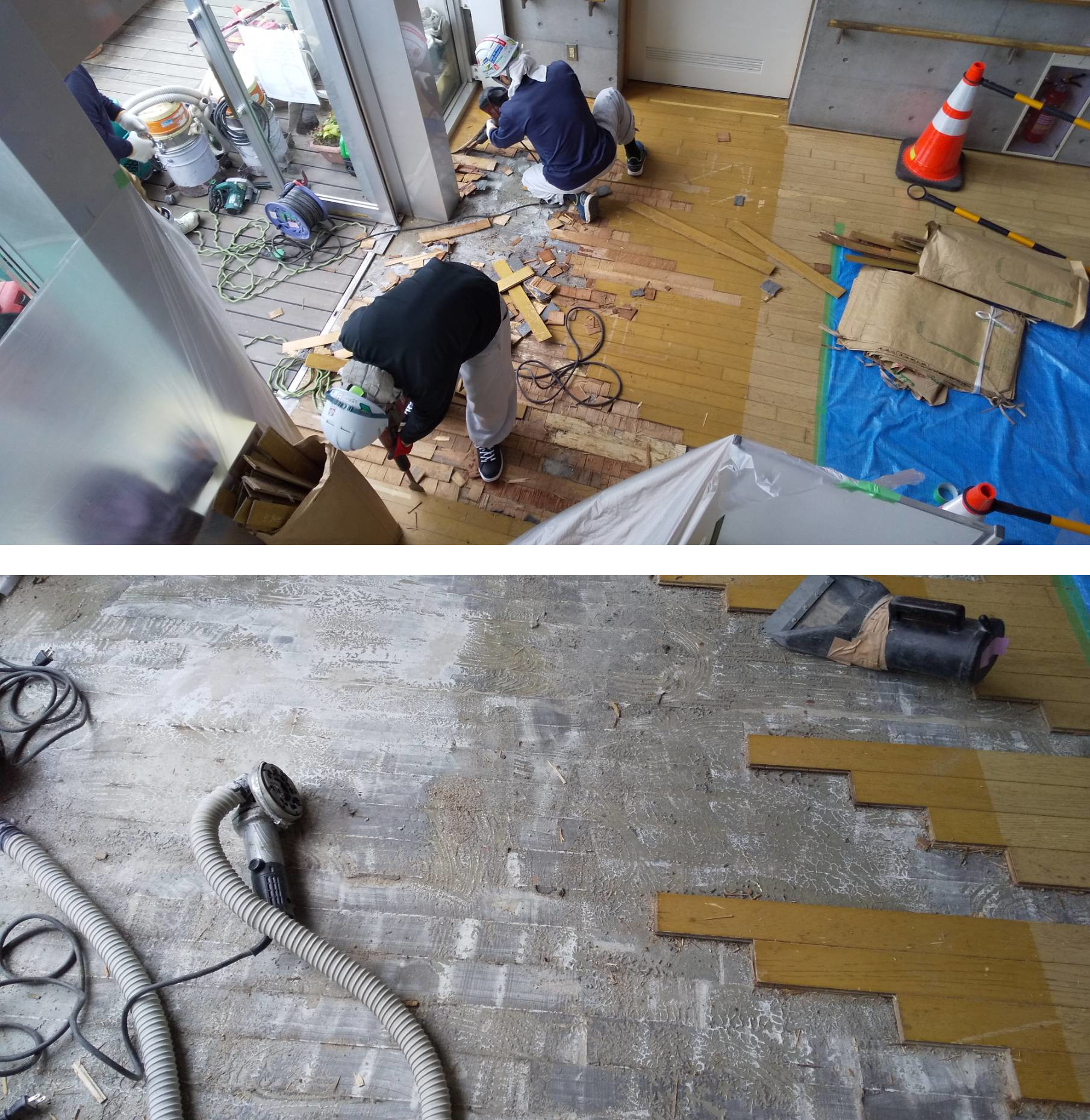 木床材の剥がしと残存接着剤の研磨除去