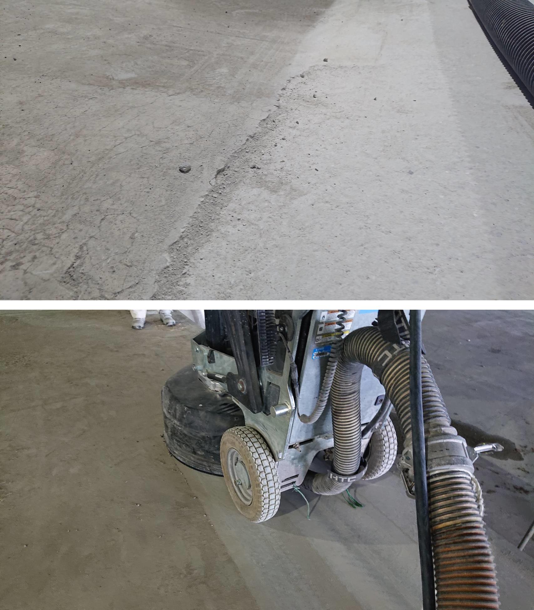 雨打たれの物流倉庫床の平滑研磨処理。床面研磨機『HTC DURATIQ8』