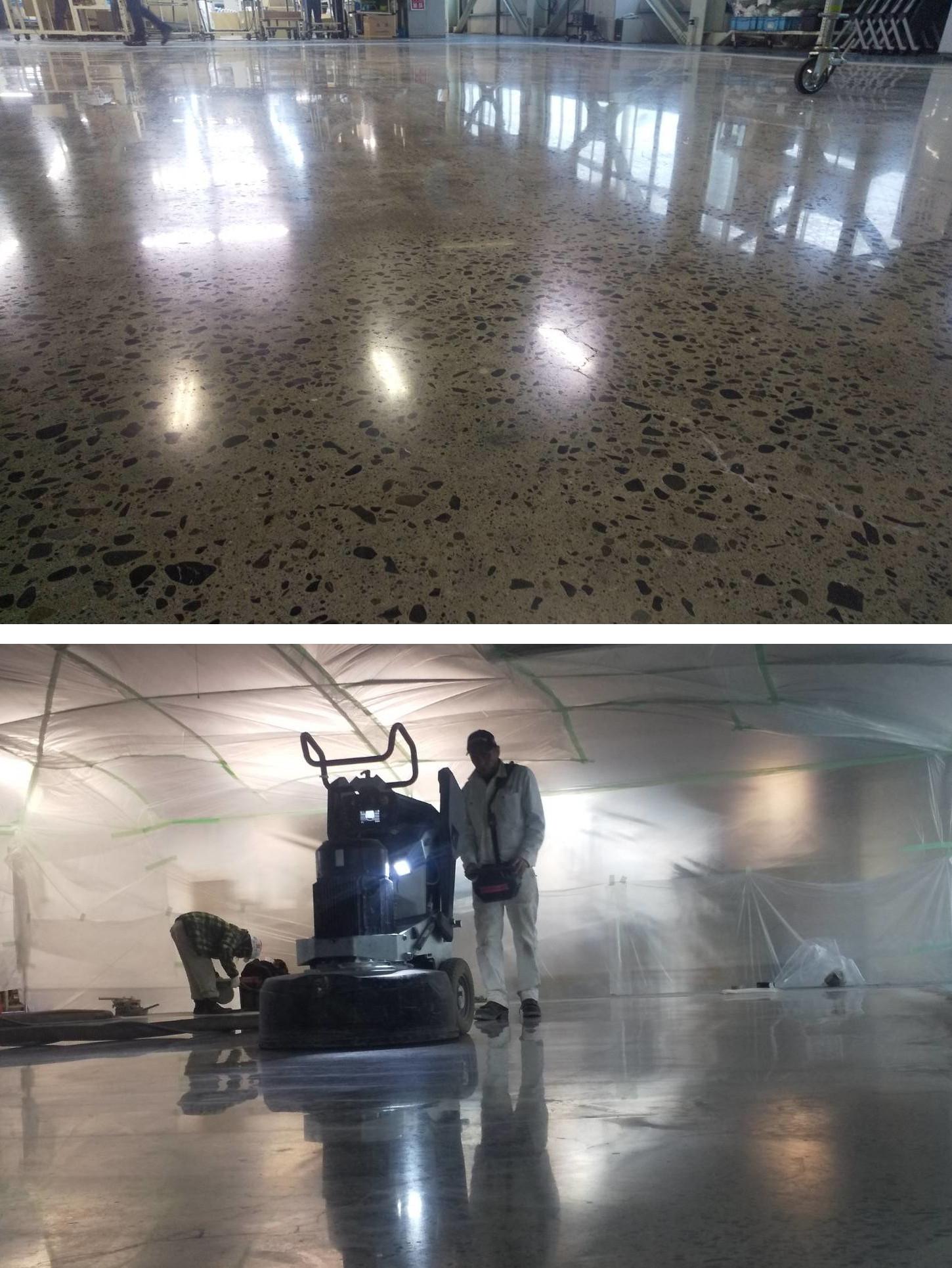 HTCスーパーフロアー(コンクリート床鏡面研磨仕上げ)、施工最終日。