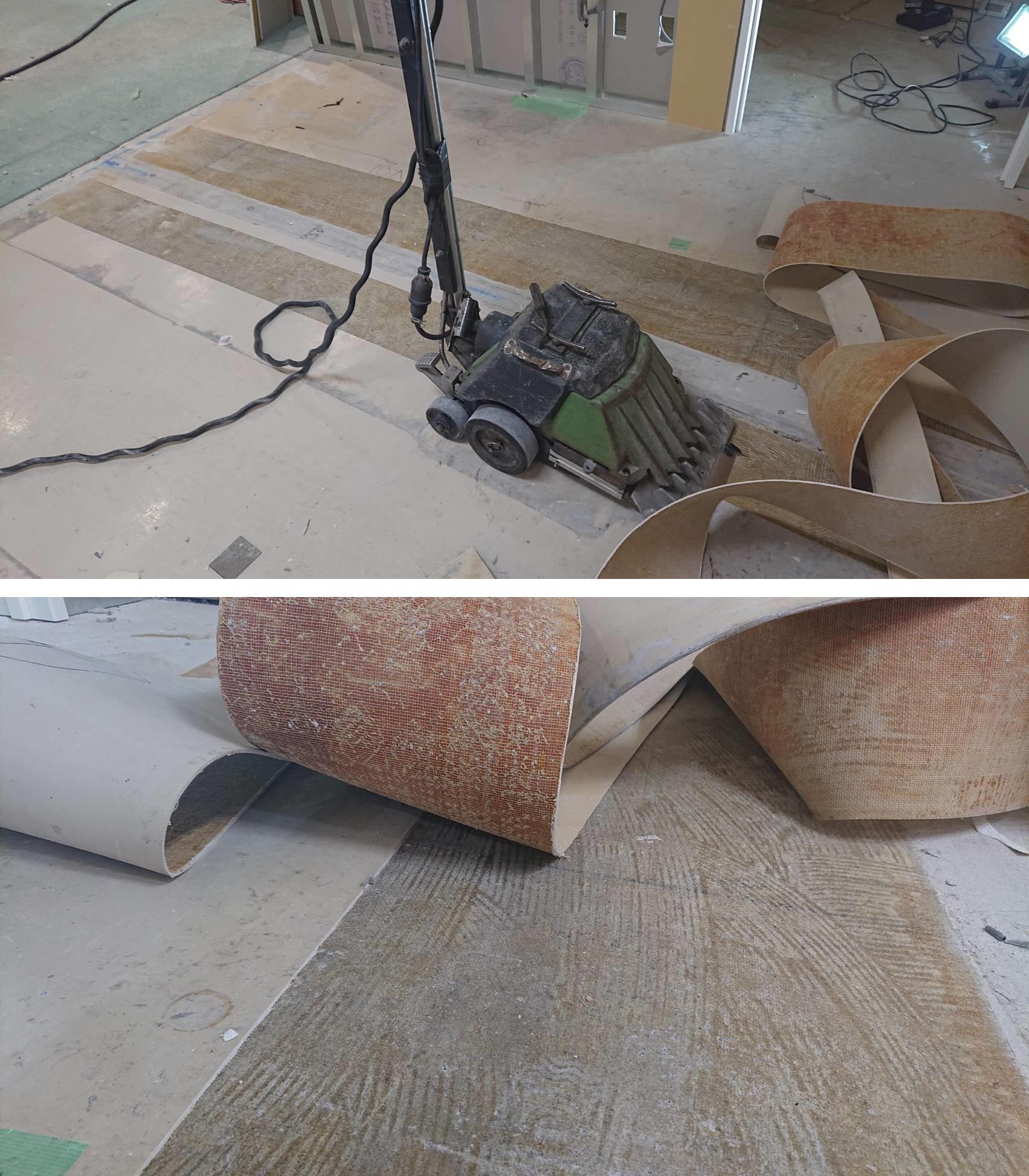 床面剥がし機『ターボストリッパー』で長尺シートを除去。