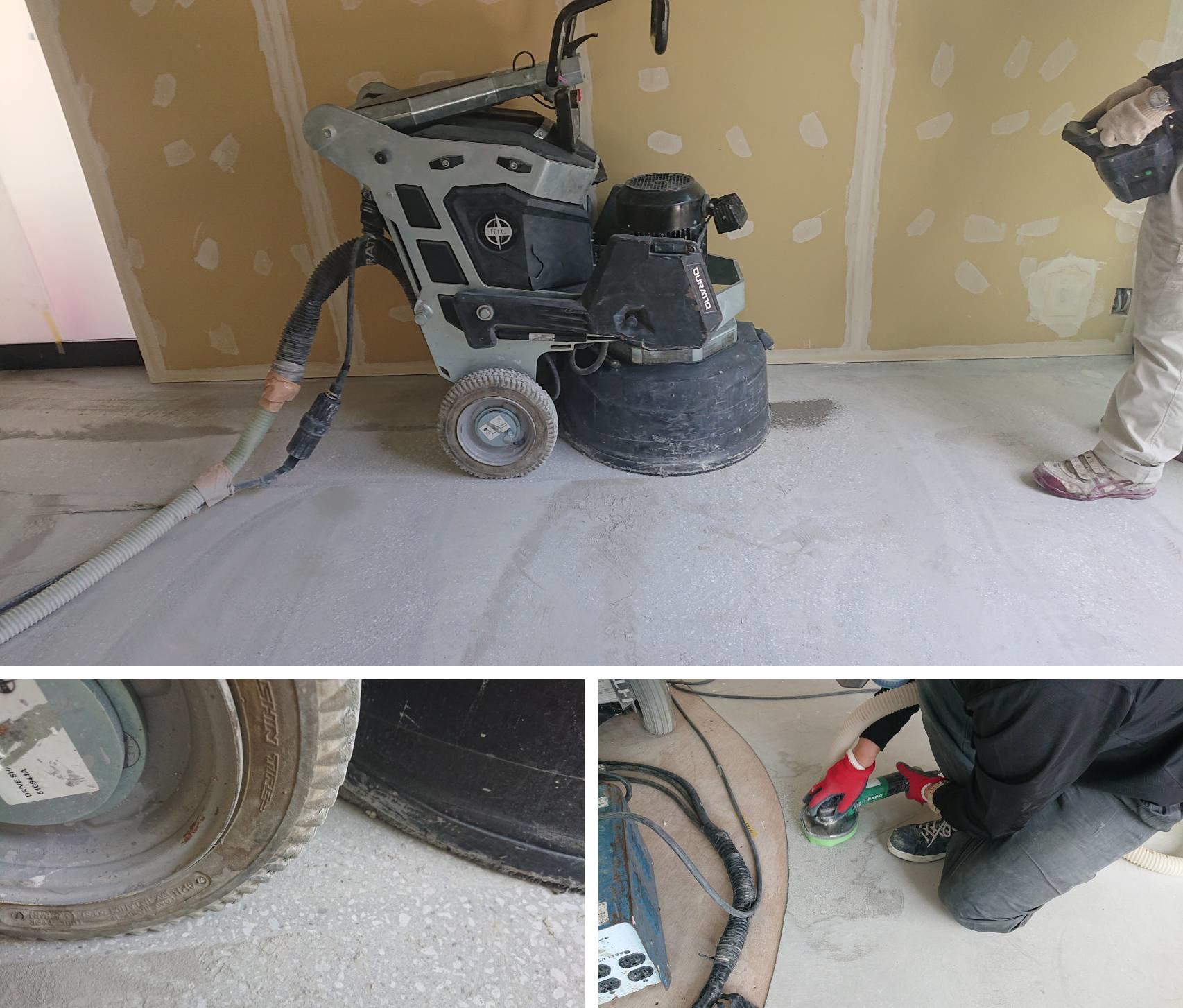 某コーヒーショップ様の床を、HTCスーパーフロアーでコンクリート床鏡面研磨仕上げに。