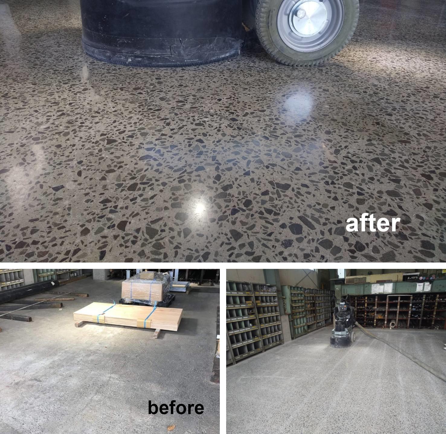 鹿児島県の倉庫様にて、HTCスーパーフロアー(コンクリート床鏡面研磨仕上げ)。