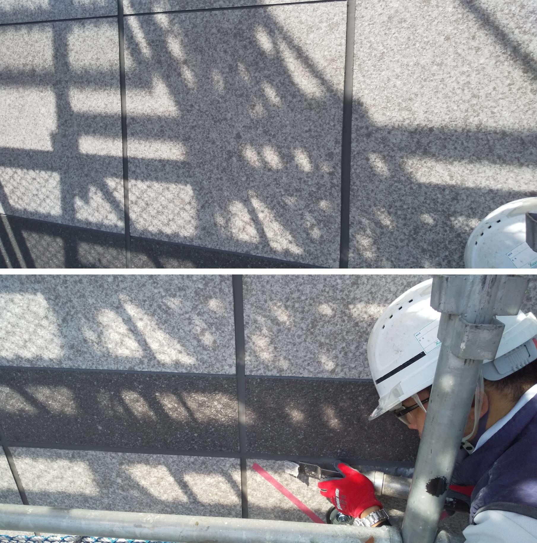 天然石調外壁シートを超音波剥離機で剥がしているところです。