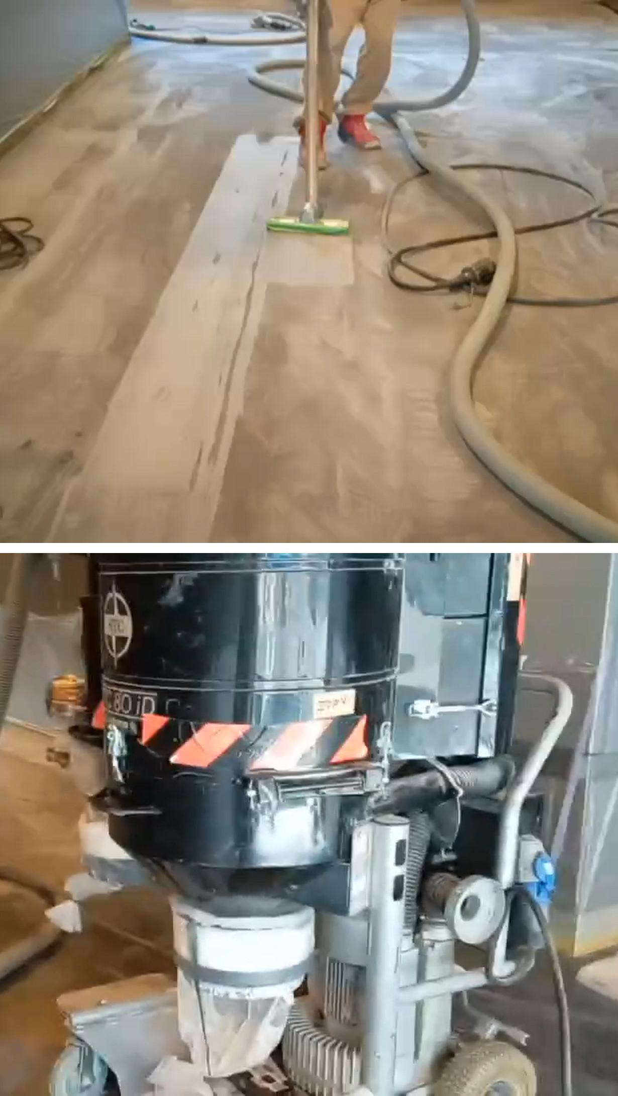 大型集塵機『HTC 80iD』でスピーディーに集塵を回収しています。